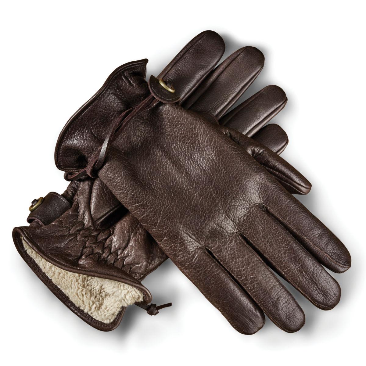 Bison Leather Winter Gloves - BROWNimage number 0