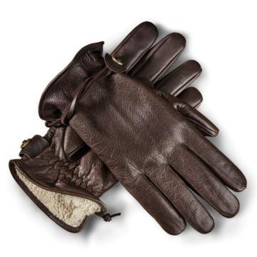 Bison Leather Winter Gloves - BROWN image number 0