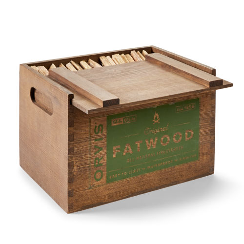wooden box of fatwood kindling on white background