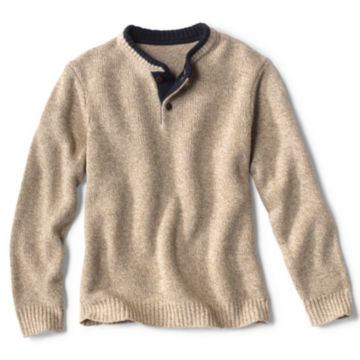 Two-Button Wool Sweater - HEATHER OAT image number 0