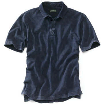 Indigo-Dyed Polo Shirt -