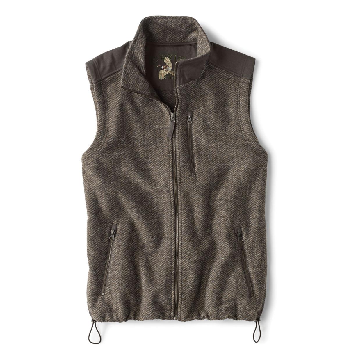 Waxed Cotton Trimmed Fleece Vest - HERRINGBONEimage number 0