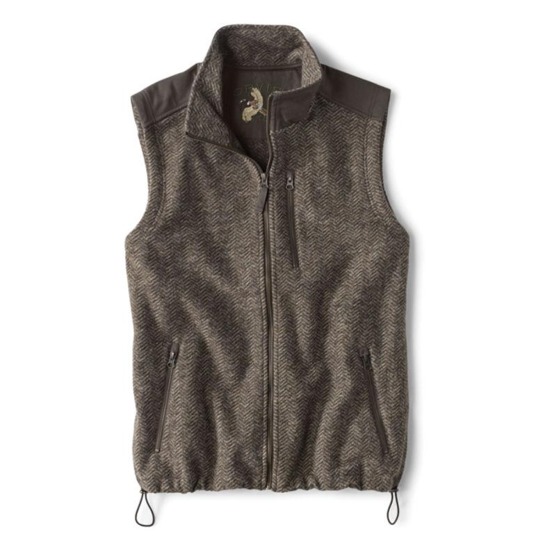 Waxed Cotton Trimmed Fleece Vest - HERRINGBONE image number 0