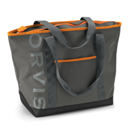 A large grey tote bacg with bright orange trim