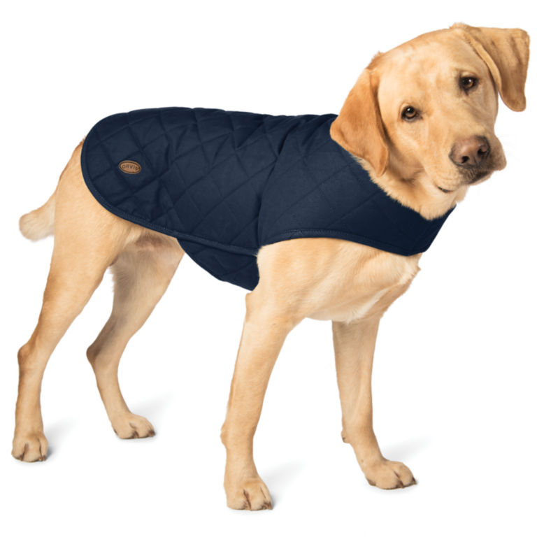 Quilted Waxed Cotton Dog Jacket - NAVY BLUE image number 0