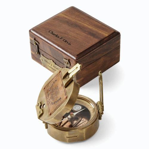 desktop compass set with wooden box