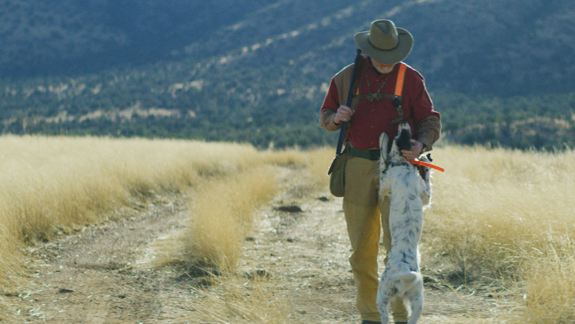 dog jumping on a man dressed for upland hunting