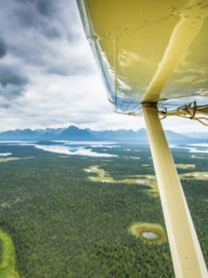 Looking out over Bristol Bay Alaska from a small plane window
