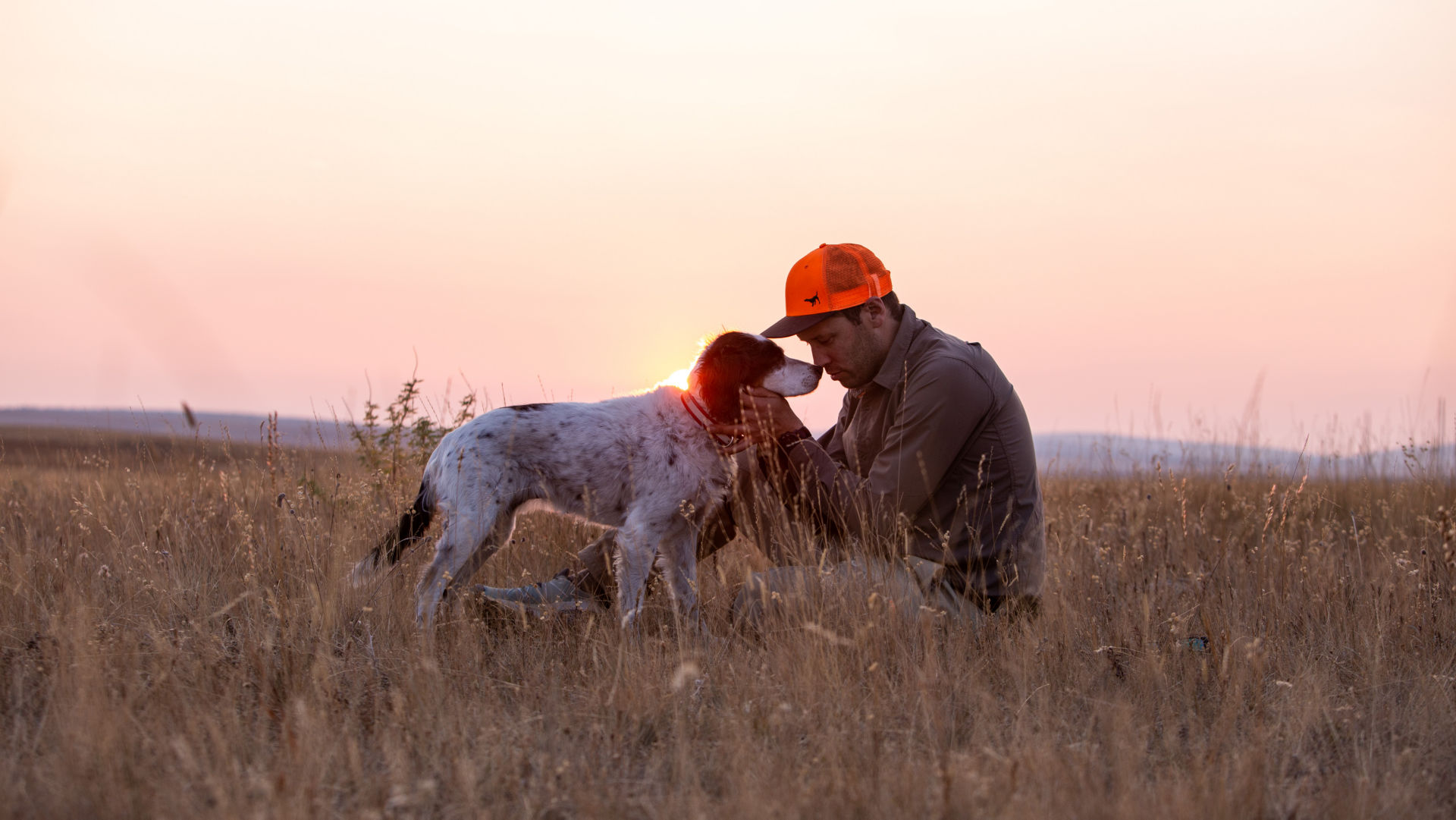 Simon Perkins and his dog, COPA in an open field