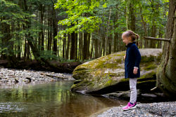 little girl standing at the side of a river
