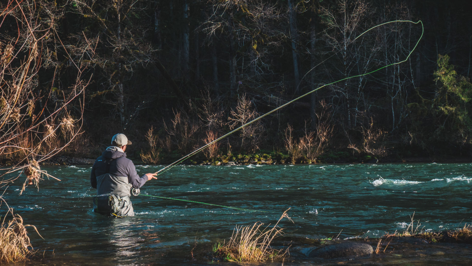 Pete Kutzer casting in the river.