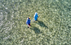 Two anglers, seen from above, walk in shallow ocean water.