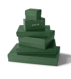 stack of Orvis Gift boxes