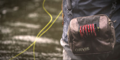 Close-up image of an Orvis fishing pack