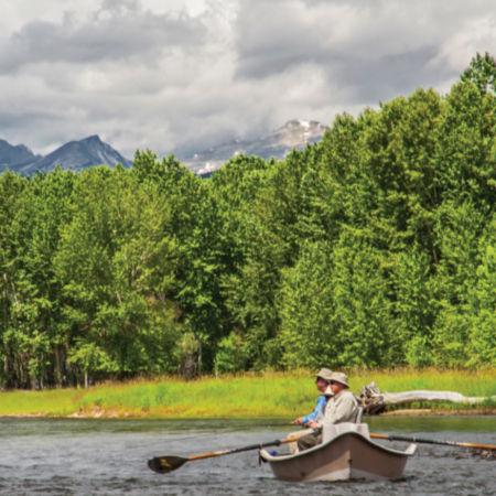 Two men in a drift boat