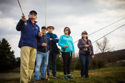 Fly-fishing instruction at Game Fair