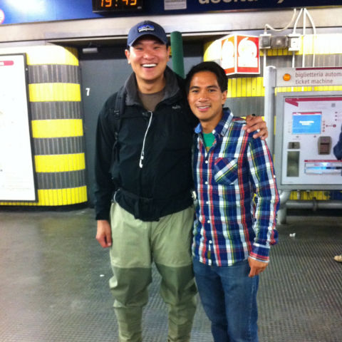 Wearing hip waders in the Rome metro attracted plenty of attention.