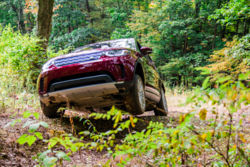 A red Land Rover driving through the woods