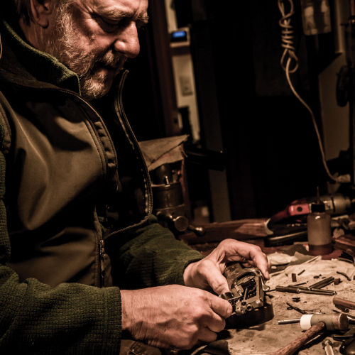 Jordan Smith at his workbench