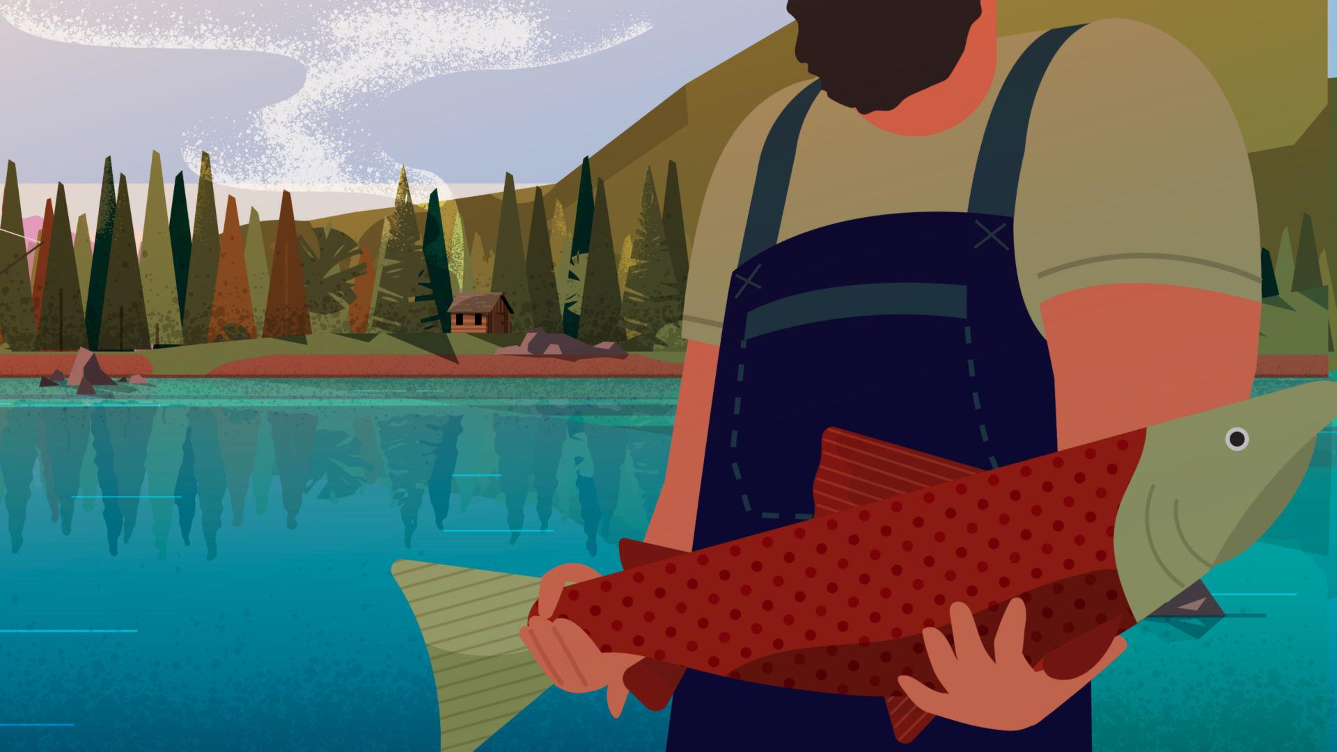 Illustrated image of fishermen catching salmon in Bristol Bay.