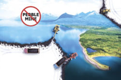 illustration of construction equipment ripping apart Alaskan wilderness