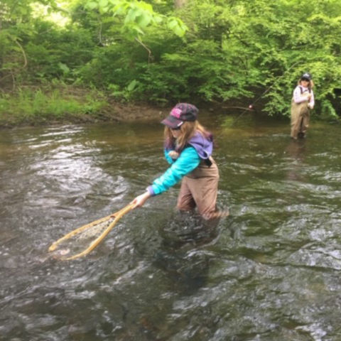 A girl wades in a stream to net a fish on the end of her sister's line.