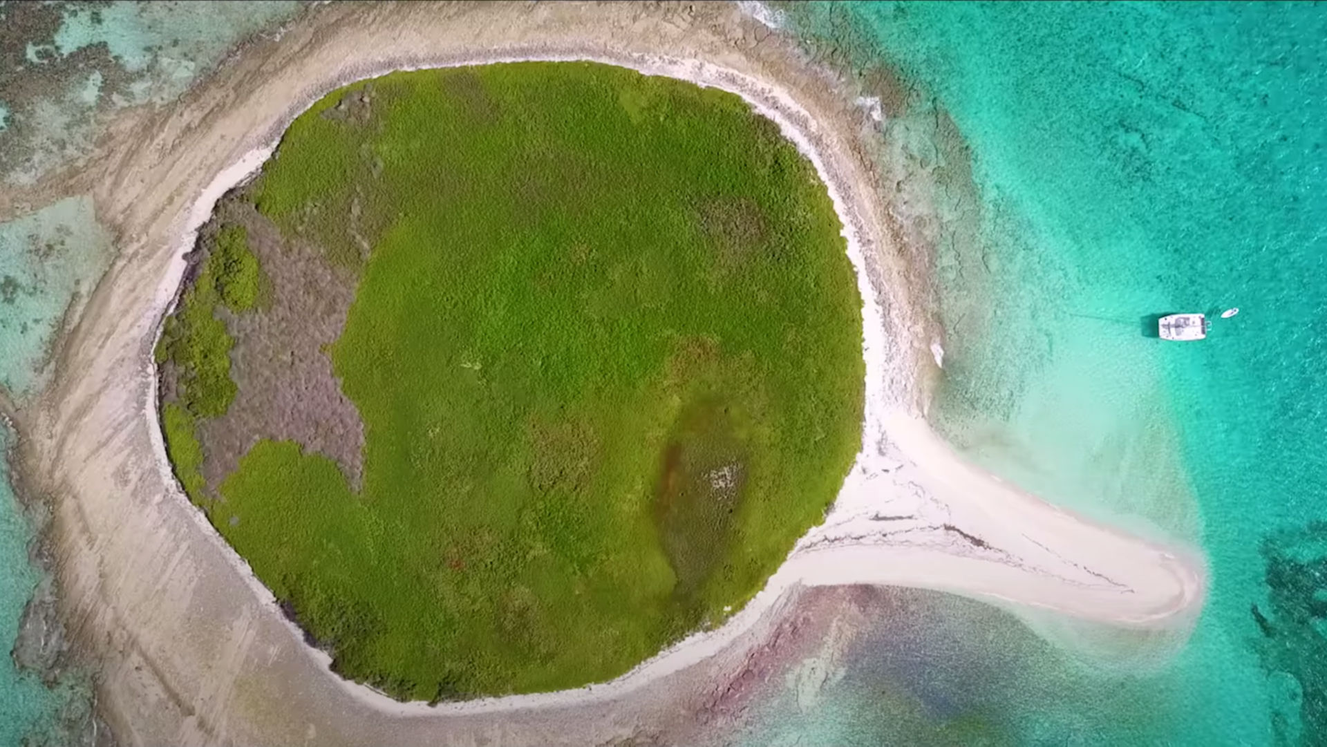 aerial view of a tropical island