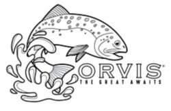 illustration of a jumping fish with the words: Orvis - The Great Awaits