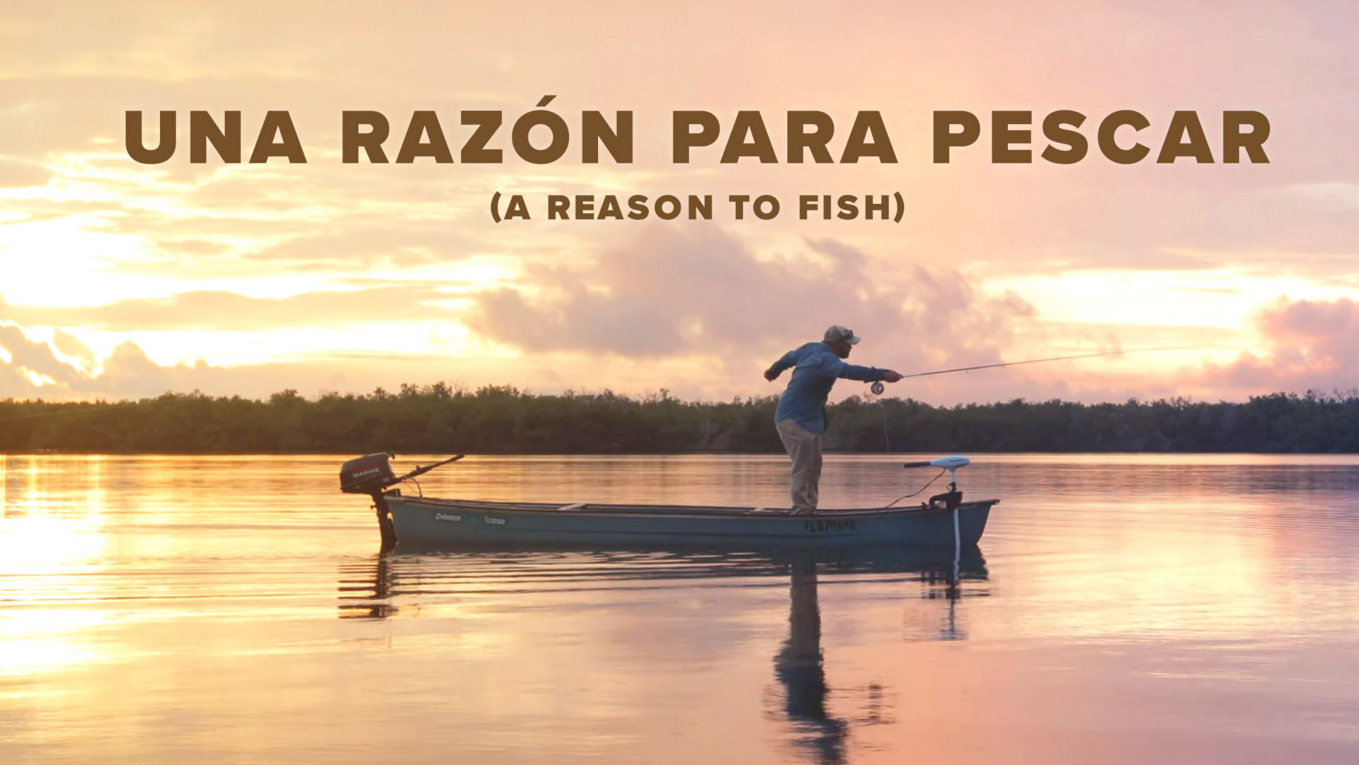 Una Razon Para Pescar video with image of Dan Diez fishing from his boat